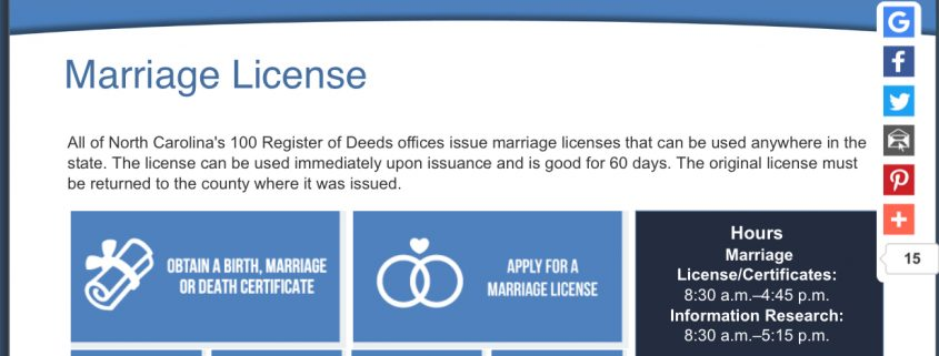 For NC Marriage Licenses See County Register of Deeds