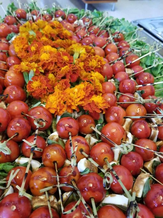 Mozzarella and baby tomatoes hand food